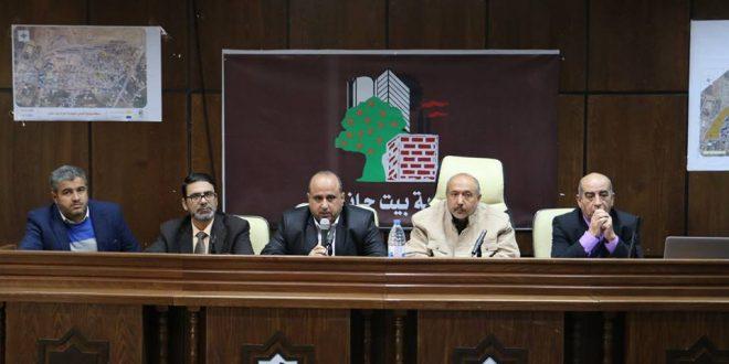 البلدية تنظم لقاء مع لجنة حى عزبة بيت حانون لبحث إعادة إعمار المنازل المهدمة بعد حرب 2014